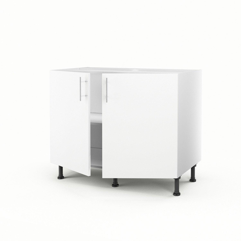Meuble de cuisine bas blanc 2 portes rio h70xl100xp56 cm for Bas de porte leroy merlin