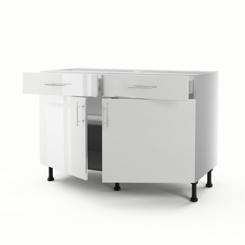 meuble de cuisine bas blanc 2 portes 2 tiroirs rio h70xl120xp56 cm leroy merlin. Black Bedroom Furniture Sets. Home Design Ideas