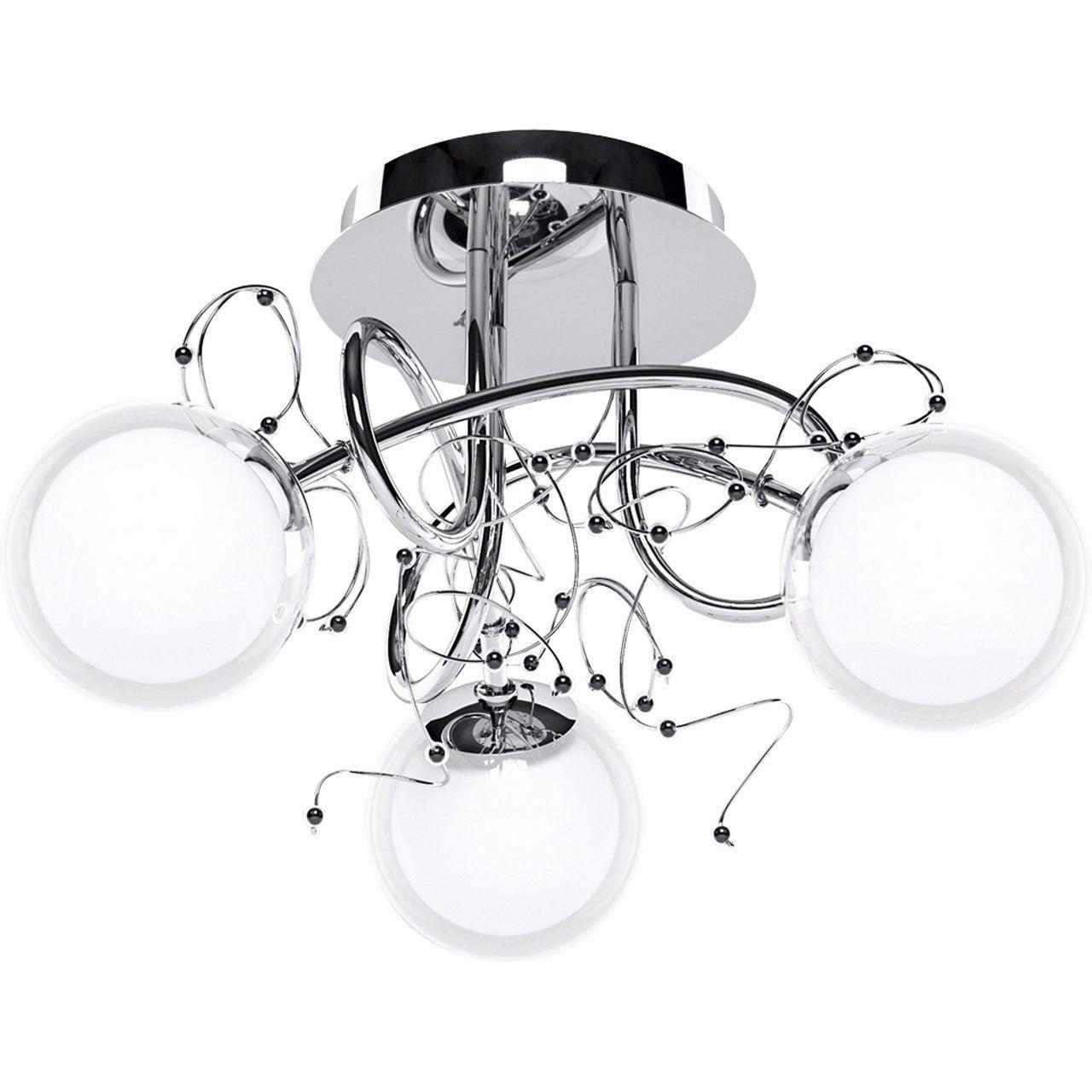 plafonnier 3 spots sans ampoule 3 x g9 chrome zylys eglo leroy merlin. Black Bedroom Furniture Sets. Home Design Ideas