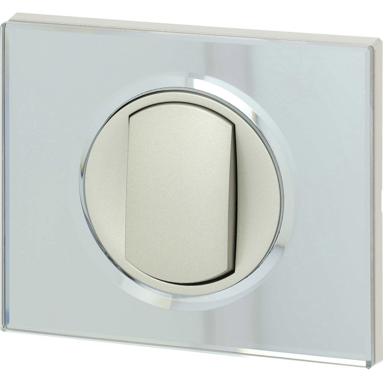 interrupteur va et vient c liane verre miroir legrand leroy merlin. Black Bedroom Furniture Sets. Home Design Ideas