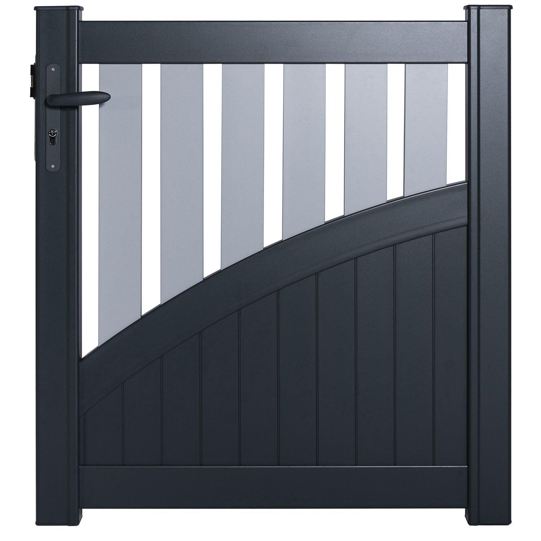 portillon battant naterial cancale x cm gris galet blanc leroy merlin. Black Bedroom Furniture Sets. Home Design Ideas