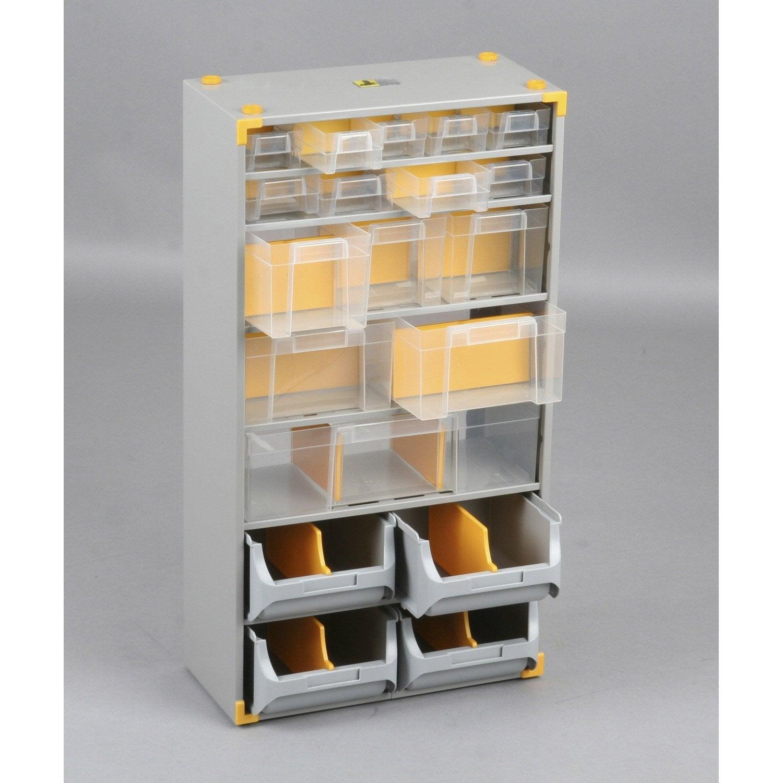 Casier vis acier 19 tiroirs h 56 x l 30 x p 16 5 cm for Rangement pour vis et clous