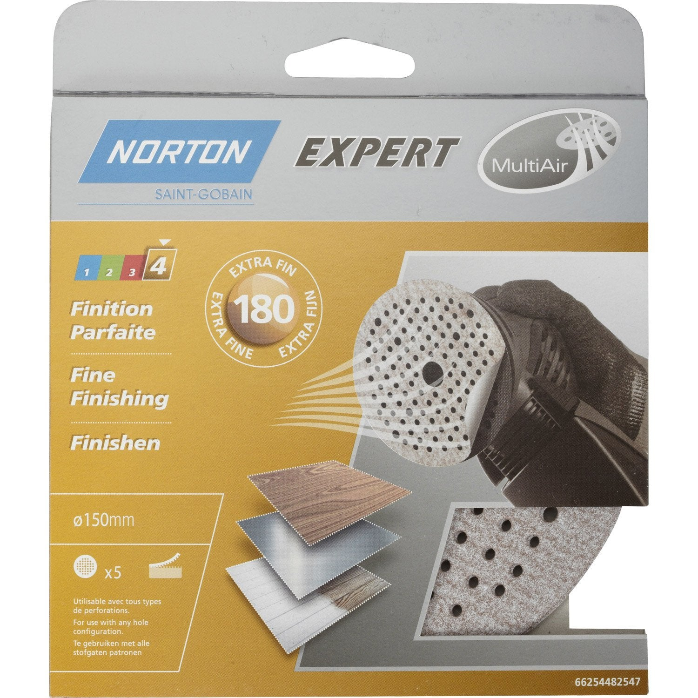 lot de 5 disques abrasifs norton 150 mm grains 180 leroy merlin. Black Bedroom Furniture Sets. Home Design Ideas