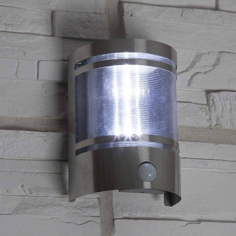 Applique d tection solaire djerba 100 lumens inox for Applique murale solaire exterieur leroy merlin