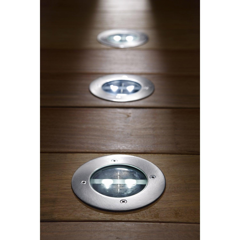 lot de 4 spots encastrer solaire grenada 20 lm inox inspire leroy merlin. Black Bedroom Furniture Sets. Home Design Ideas