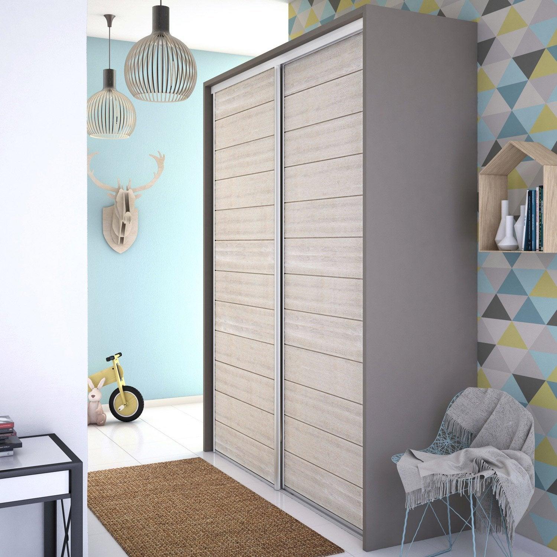 Porte de placard coulissante lambriss e bois blanchi - Porte coulissante placard leroy merlin ...