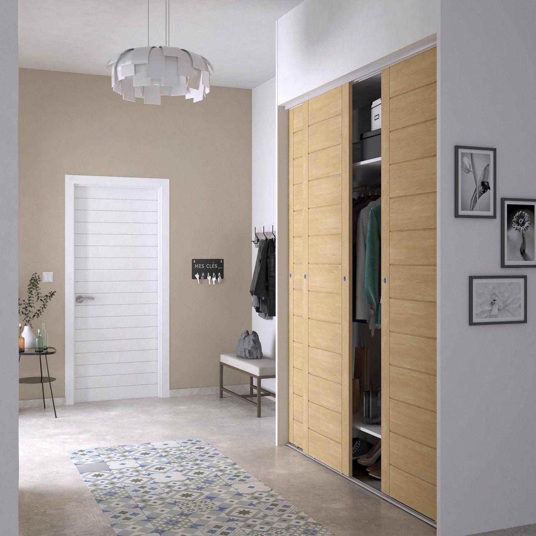 porte de placard coulissante naturel spaceo x cm leroy merlin. Black Bedroom Furniture Sets. Home Design Ideas