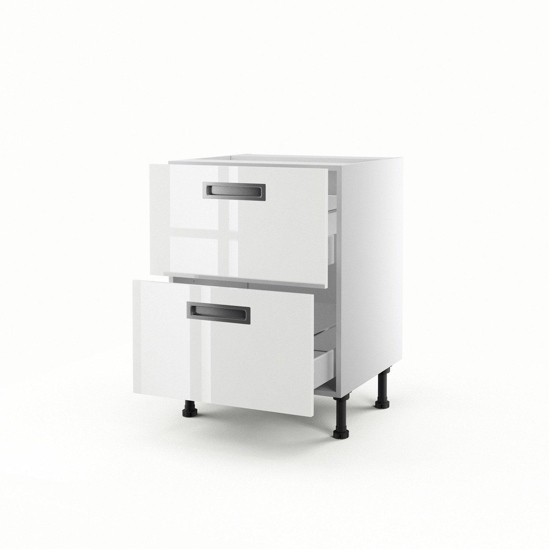 meuble de cuisine bas blanc 2 tiroirs play x x cm leroy merlin. Black Bedroom Furniture Sets. Home Design Ideas