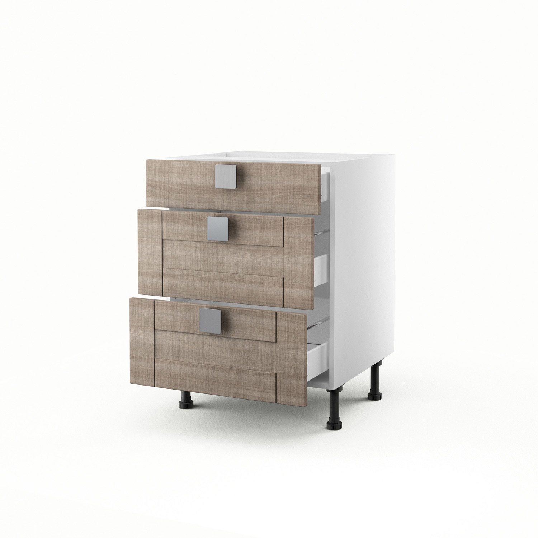 Meuble de cuisine bas d cor ch ne blanchi 3 tiroirs karrey for Meuble bureau 60 x 60