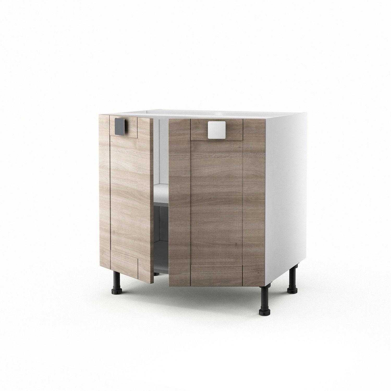 Meuble de cuisine bas d cor ch ne blanchi 2 portes karrey for Meuble 110 x 80