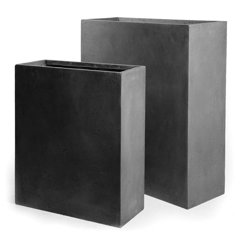 jardini re en fibre l 25 x h 72 x l 60cm coloris gris. Black Bedroom Furniture Sets. Home Design Ideas