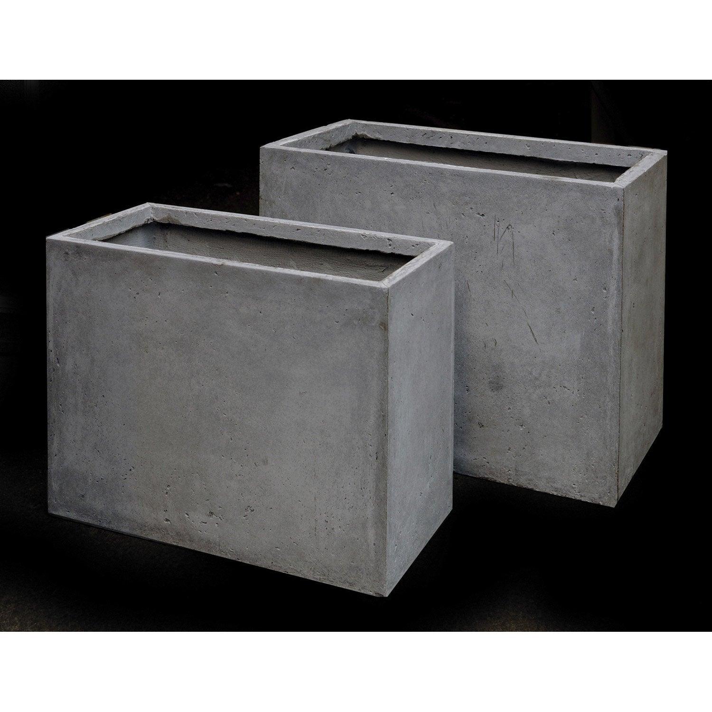 Jardini re en fibre l 40 x h 60 x l 70cm coloris gris - Jardiniere beton leroy merlin ...