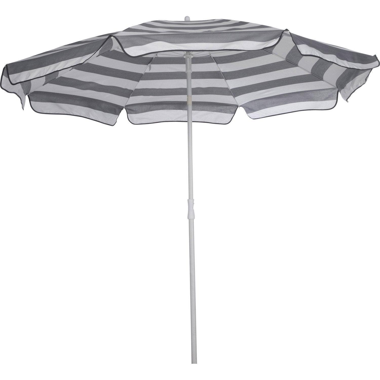 parasol droit evy rayures blanches et grises leroy merlin. Black Bedroom Furniture Sets. Home Design Ideas