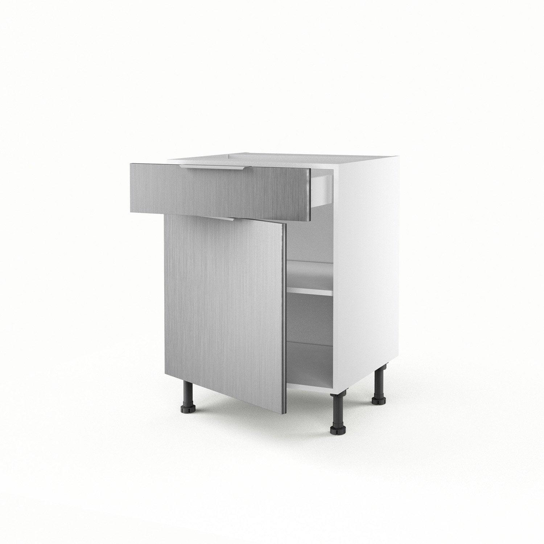 Meuble de cuisine bas aluminium 1 porte 1 tiroir stil for Meuble cuisine aluminium