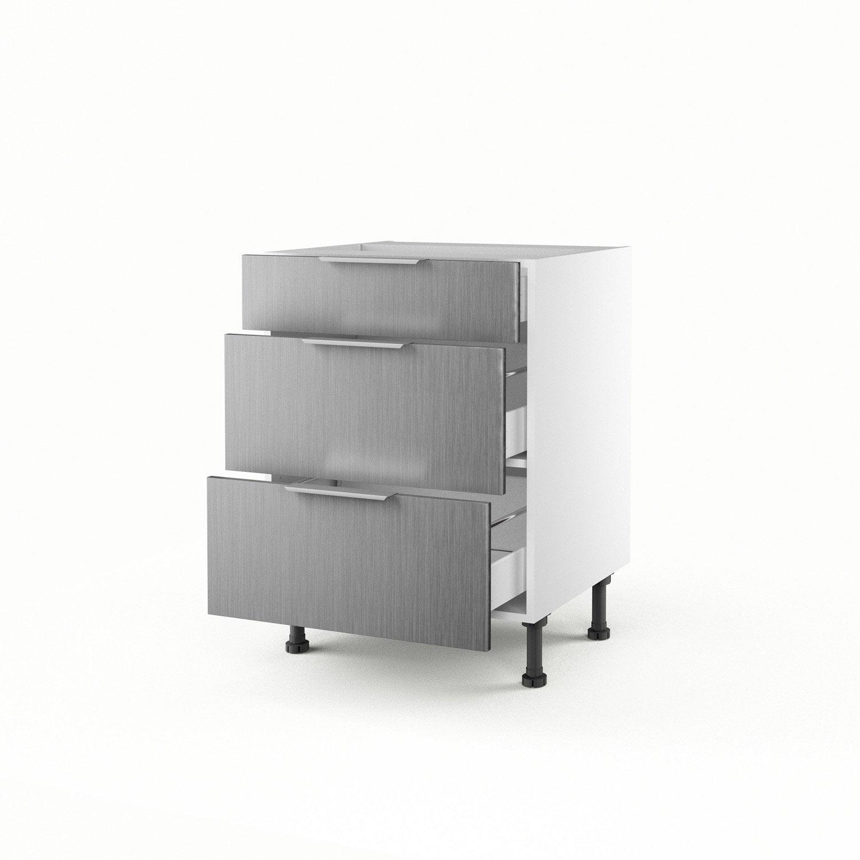 Meuble de cuisine bas d cor aluminium 3 tiroirs stil for Meuble bas cuisine leroy merlin