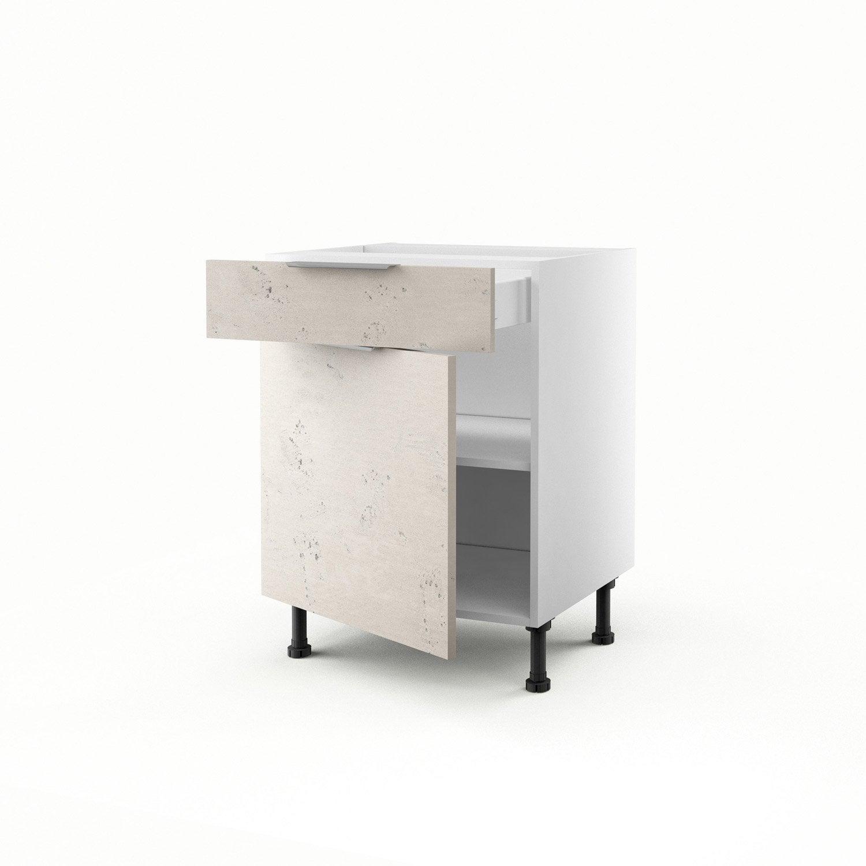 Meuble de cuisine bas b ton 1 porte 1 tiroir loft h70xl60xp56 cm leroy m - Cuisine loft leroy merlin ...