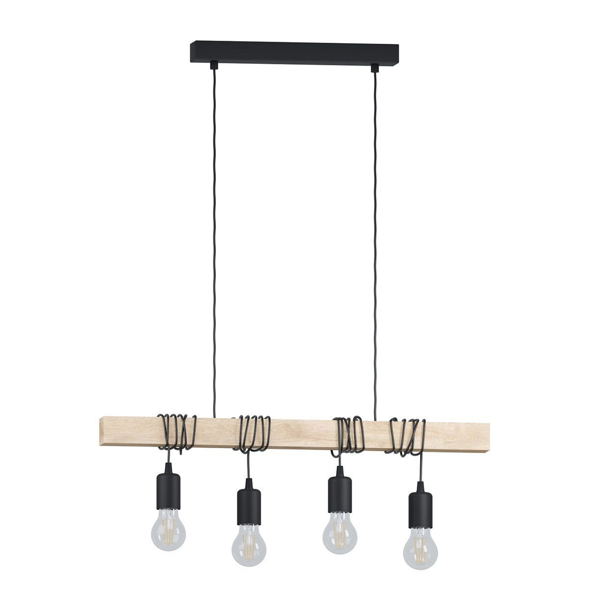 Suspension e27 design townshend bois noir 4 x 60 w eglo for Suspension luminaire filaire