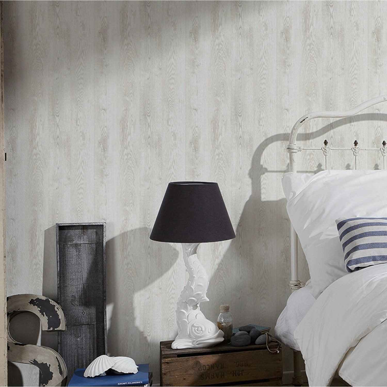 Papier peint intiss planche bois blanc leroy merlin - Osb peint en blanc ...