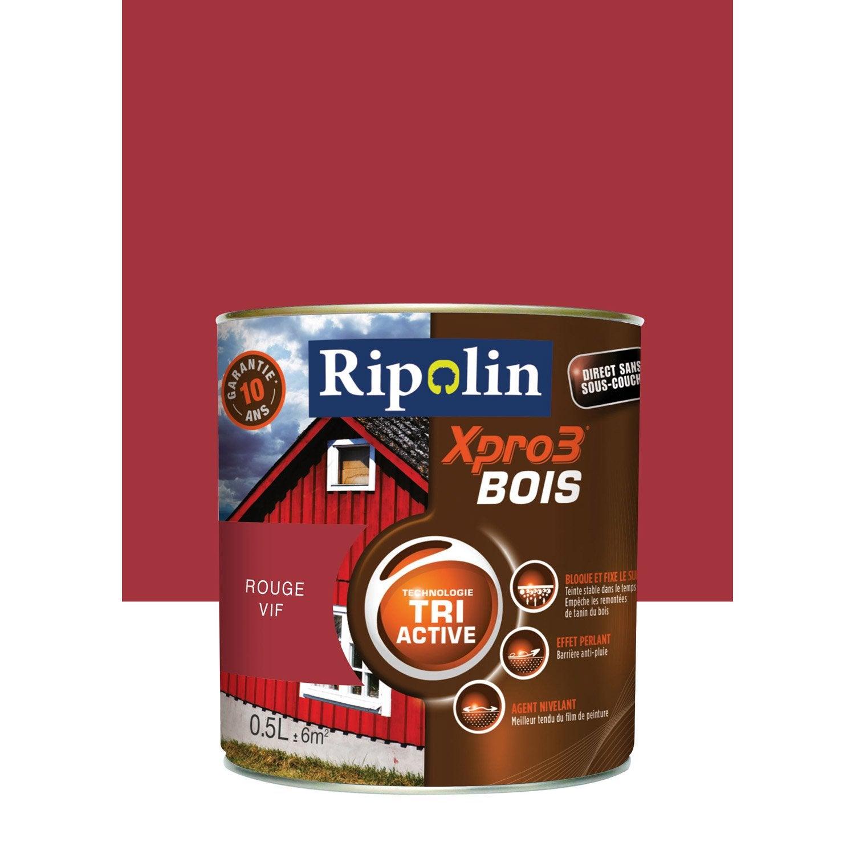 Peinture bois ext rieur int rieur xpro3 ripolin satin rouge vif 0 5l leroy merlin for Peinture pvc exterieur ral
