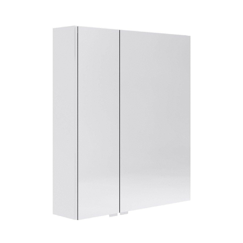 Armoire avec clairage int gr cm blanc opale for Eclairage salle de bain leroy merlin
