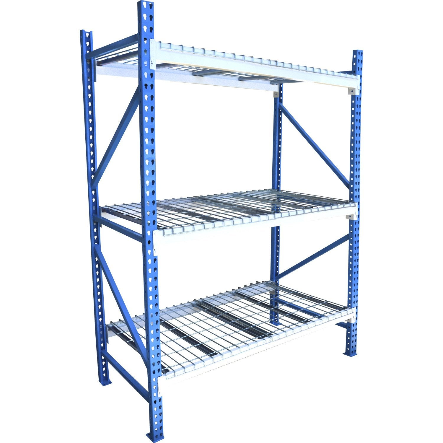 rack acier rack 3 tablettes bleu et blanc x. Black Bedroom Furniture Sets. Home Design Ideas