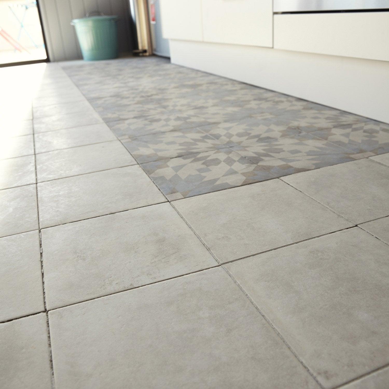 Carrelage sol et mur ivoire effet ciment arlequin x l - Carrelage effet carreau ciment ...