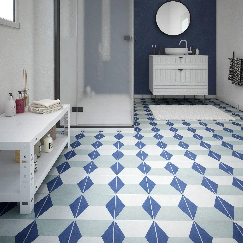 Carrelage sol et mur bleu blanc effet ciment d ment x cm leroy me - Carrelage ardoise leroy merlin ...