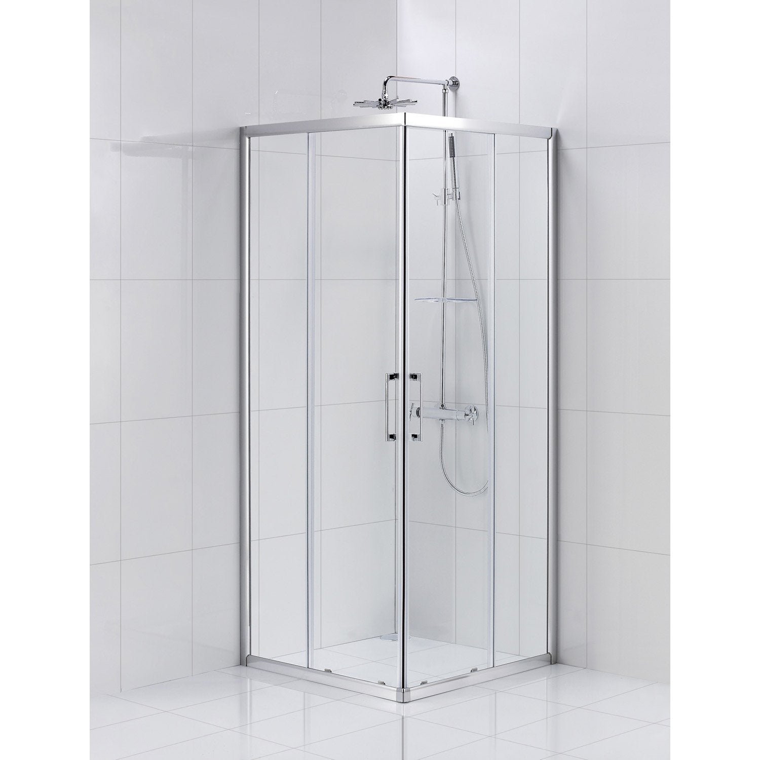 Porte de douche coulissante sensea remix verre transparent for Leroy merlin porte en verre