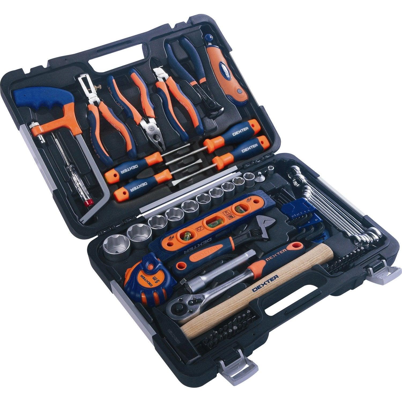 Kit d 39 outils 75 pi ces dexter leroy merlin for Cuisine boite a outils