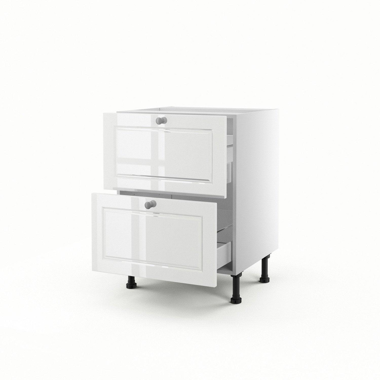 Meuble de cuisine bas blanc 2 tiroirs chelsea x - Meuble cuisine 60 cm largeur ...