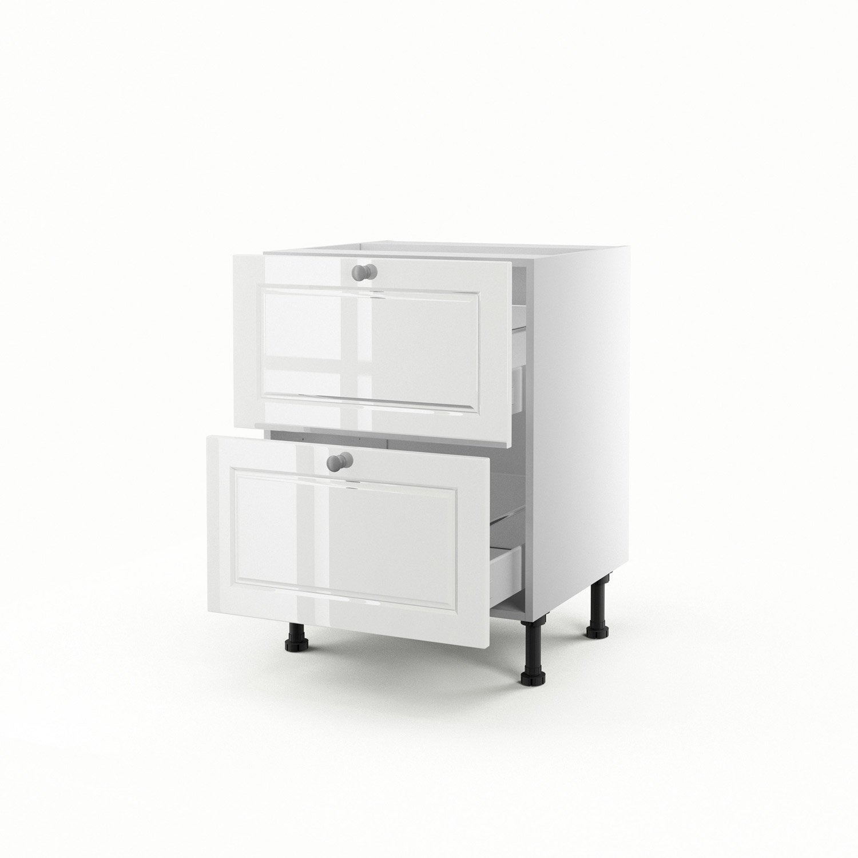 Meuble de cuisine bas blanc 2 tiroirs chelsea x for Meuble bureau hauteur 70 cm