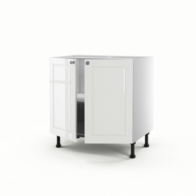Meuble de cuisine bas blanc 2 portes chelsea h70xl80xp56 for Bas de porte leroy merlin