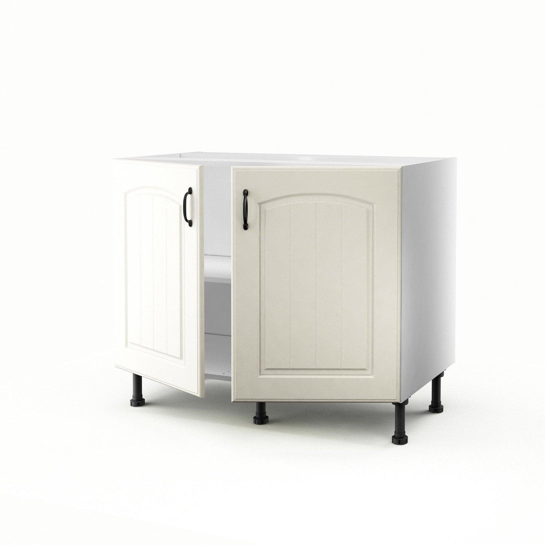 meuble de cuisine bas chanvre 2 portes ol ron h70xl100xp56 cm leroy merlin. Black Bedroom Furniture Sets. Home Design Ideas