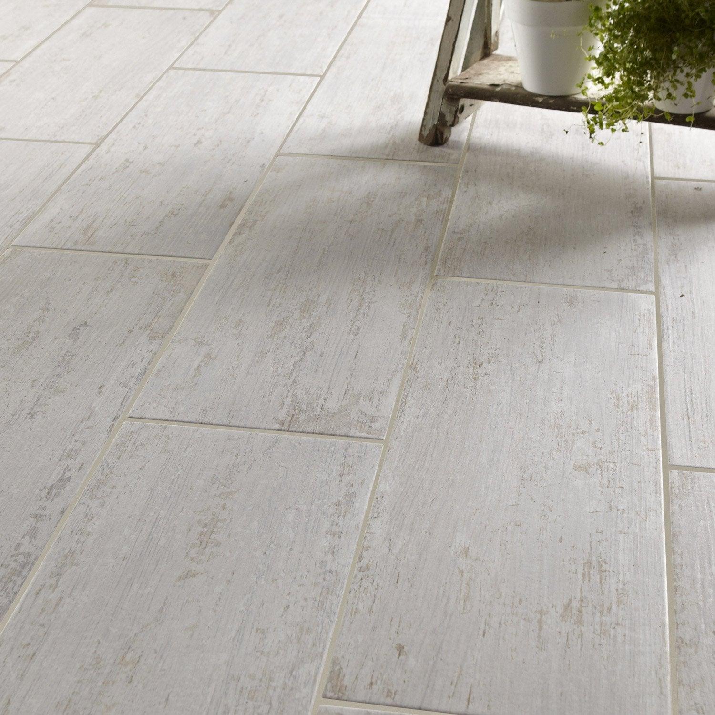 Carrelage sol et mur blanc effet bois cuba x - Carrelage gris clair leroy merlin ...
