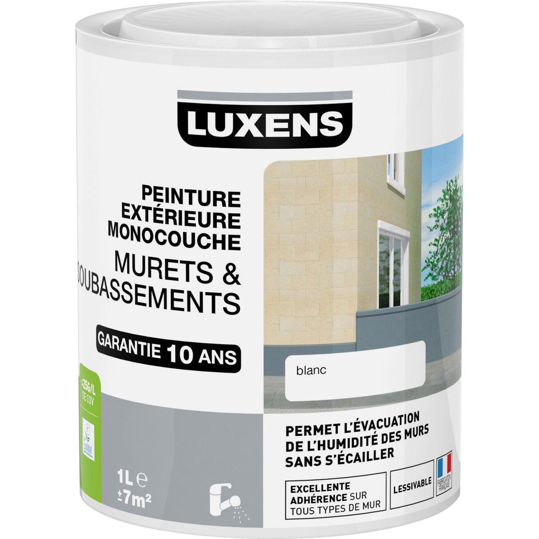 Peinture muret et soubassement luxens blanc 1 l leroy merlin for Prix peinture pour carrelage