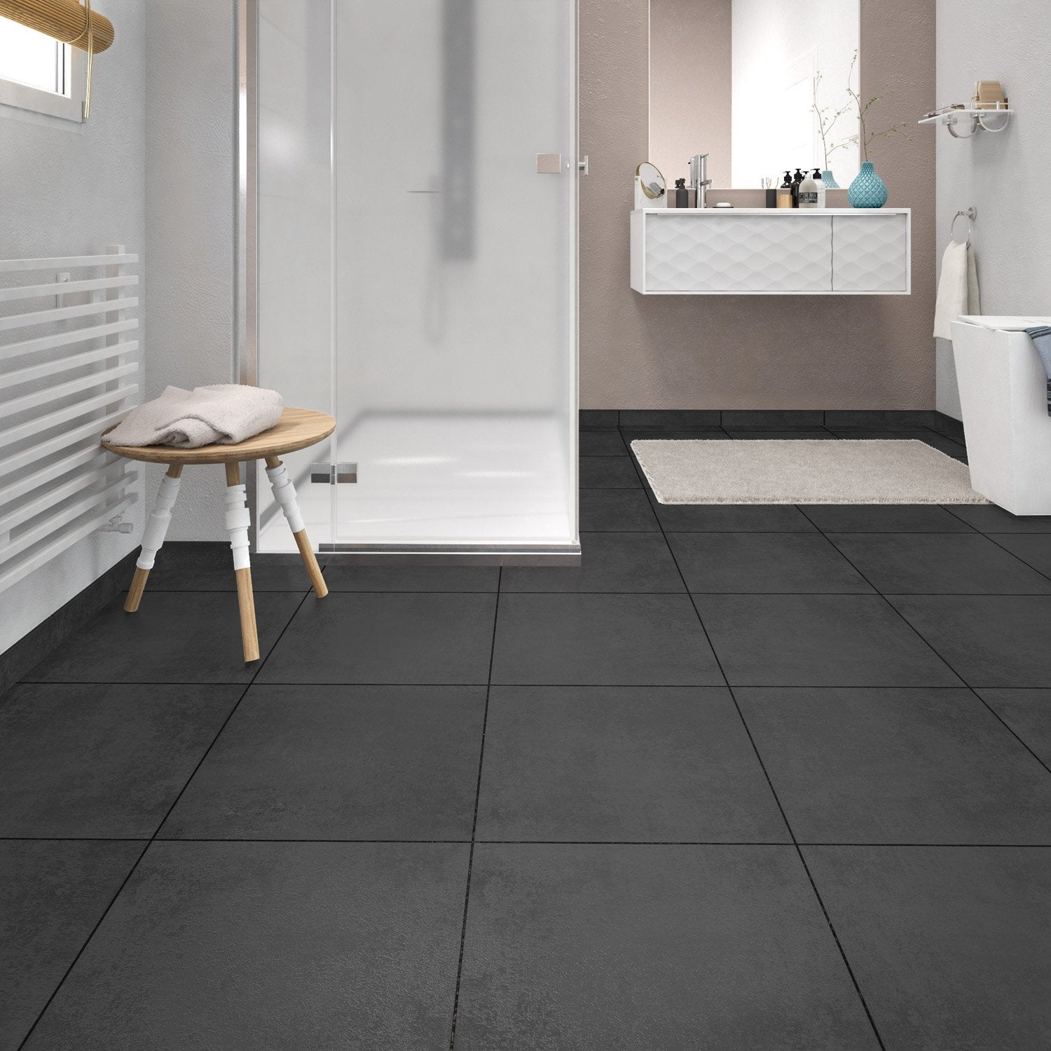 Carrelage noir brillant leroy merlin affordable credence for Carrelage salle de bain noir