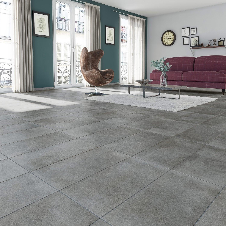 carrelage sol et mur anthracite effet b ton new cottage x cm leroy merlin. Black Bedroom Furniture Sets. Home Design Ideas