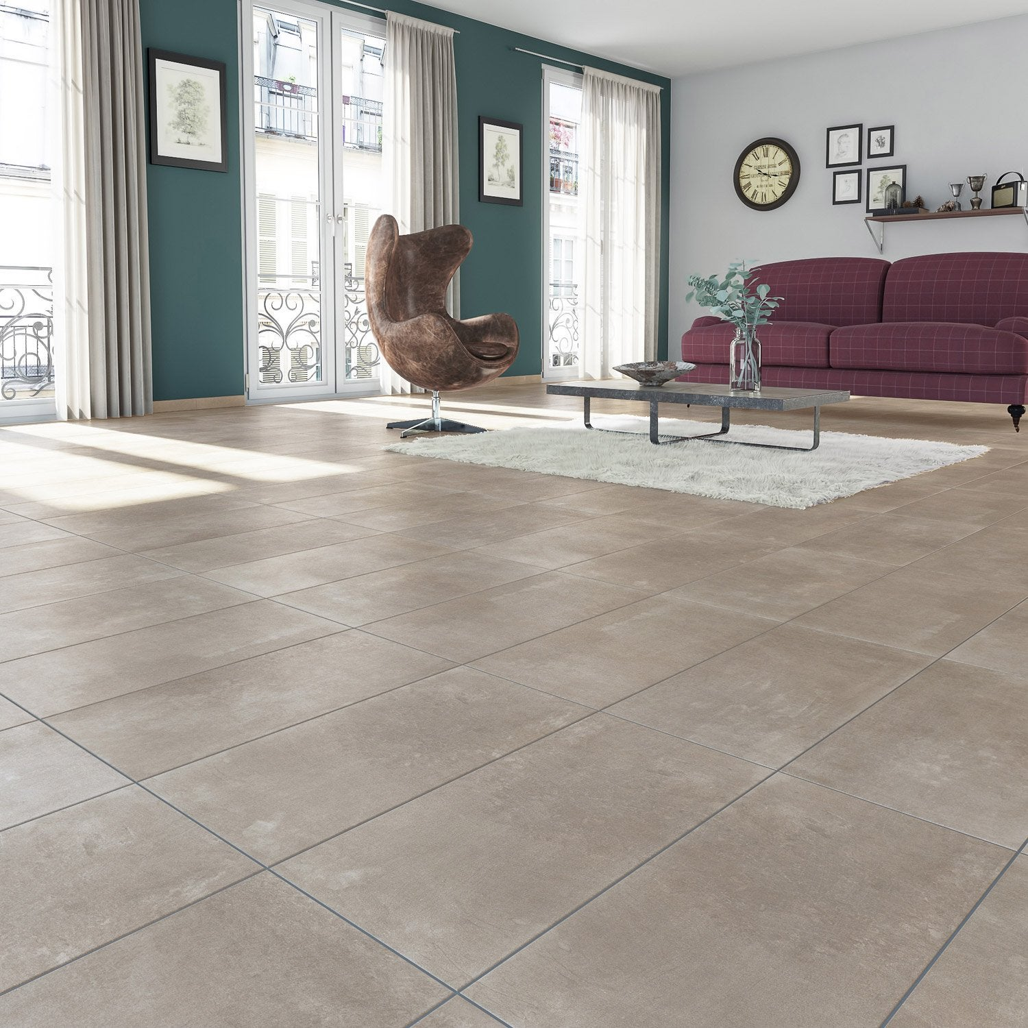 Carrelage sol et mur taupe effet b ton new cottage x for Carrelage taupe cuisine