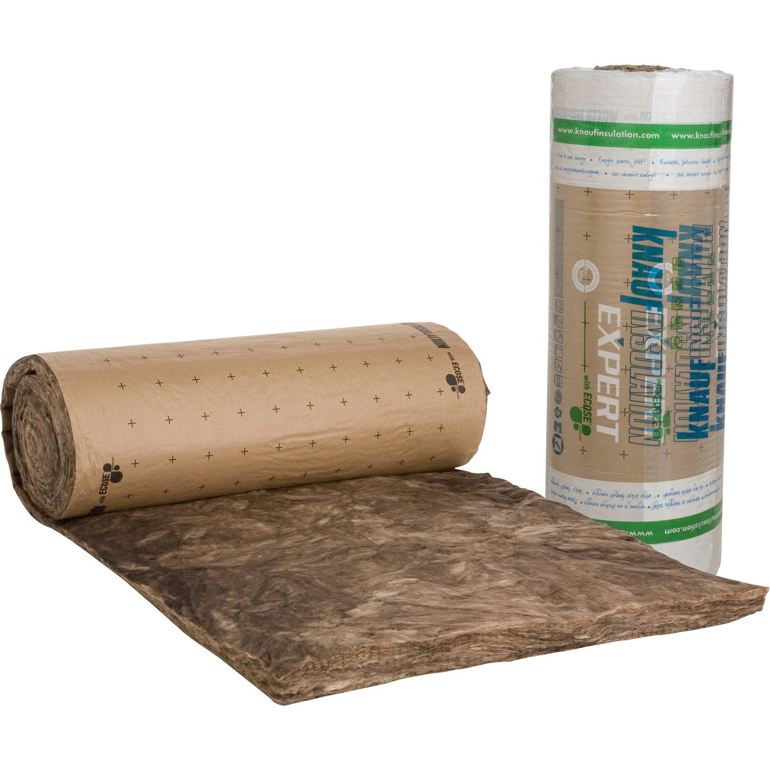 Laine de verre kraft knauf insulation 9 5 x 1 2 m ep 100 for Isolation phonique laine de roche ou laine de verre