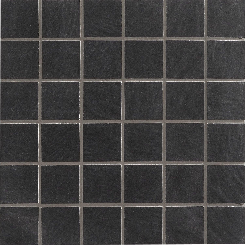 Mosa que sol et mur vesuvio noir 5 x 5 cm leroy merlin for Lapeyre carrelage sol