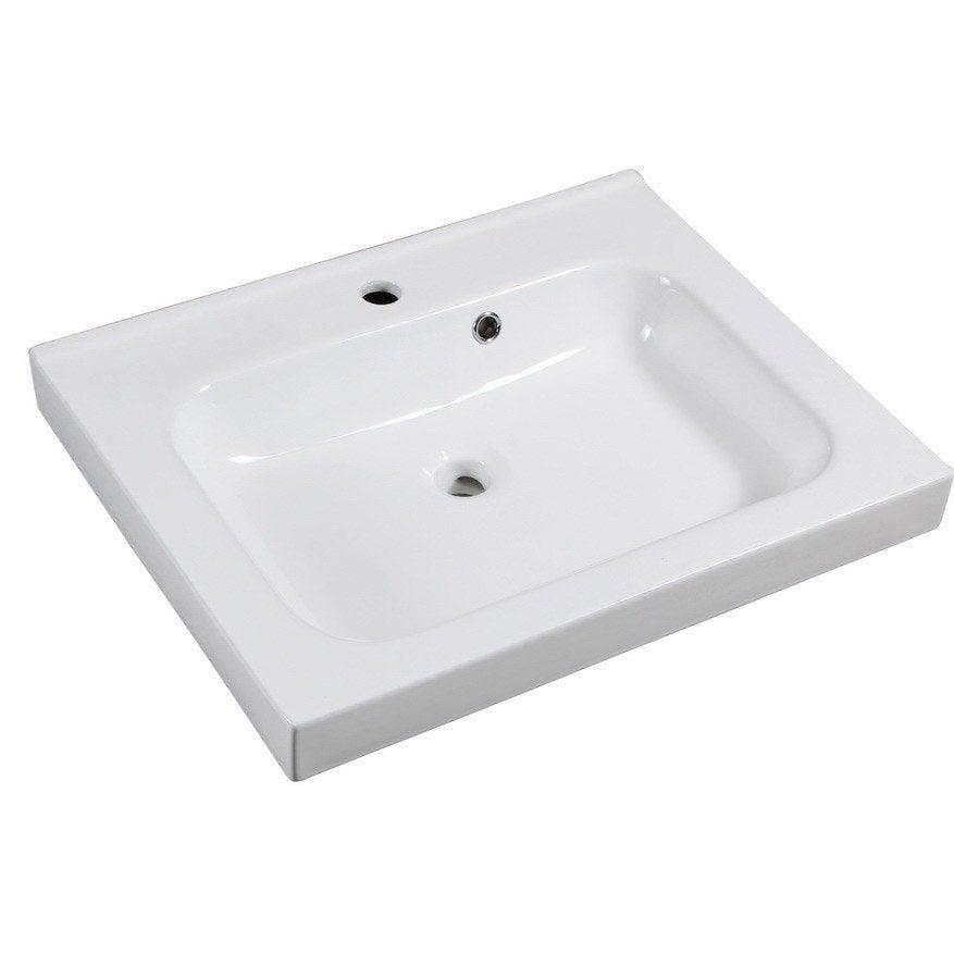 Plan vasque simple remix c ramique 61 cm leroy merlin for Leroy merlin plan vasque