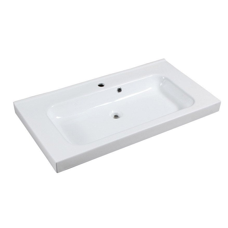 Plan vasque simple remix c ramique 91 0 cm leroy merlin - Meuble salle de bain 80 cm leroy merlin ...