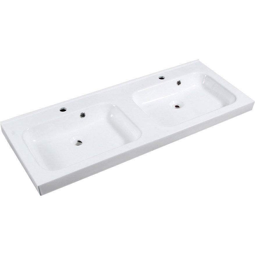 Plan vasque double remix c ramique 121 cm leroy merlin for Plan double vasque salle de bain