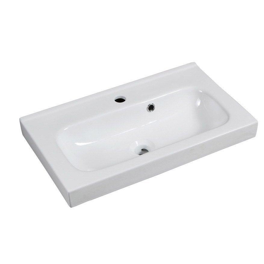 Plan vasque simple remix c ramique 61 cm leroy merlin for Vasque noire leroy merlin