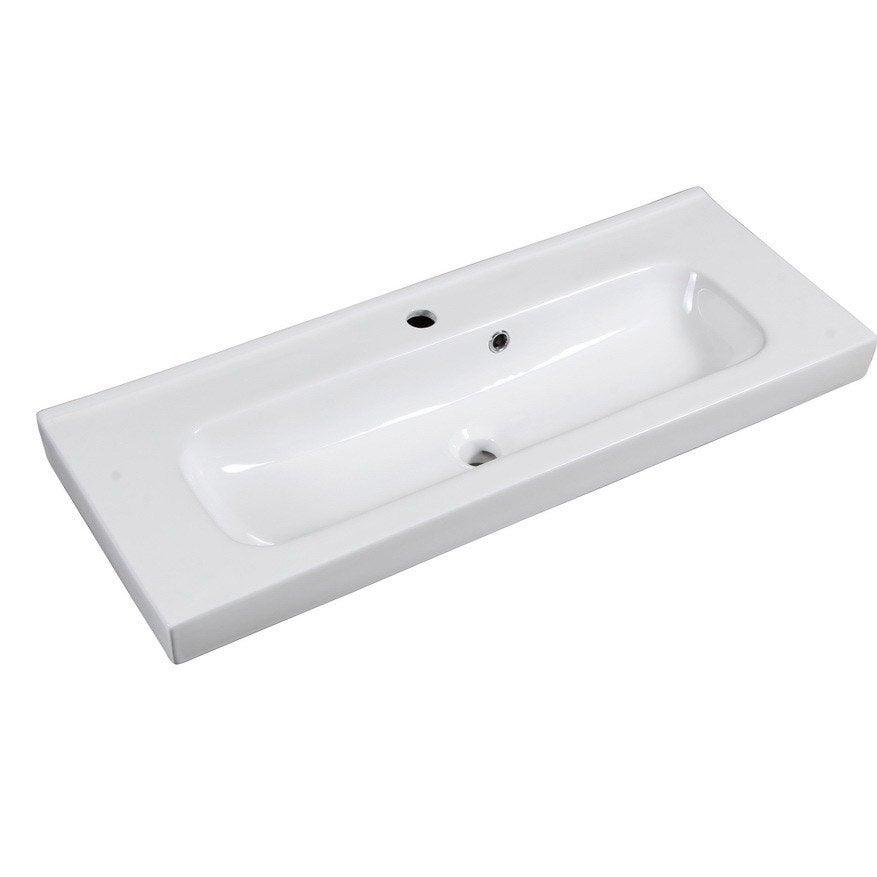 Plan vasque simple remix c ramique 91 cm leroy merlin for Plan vasque leroy merlin