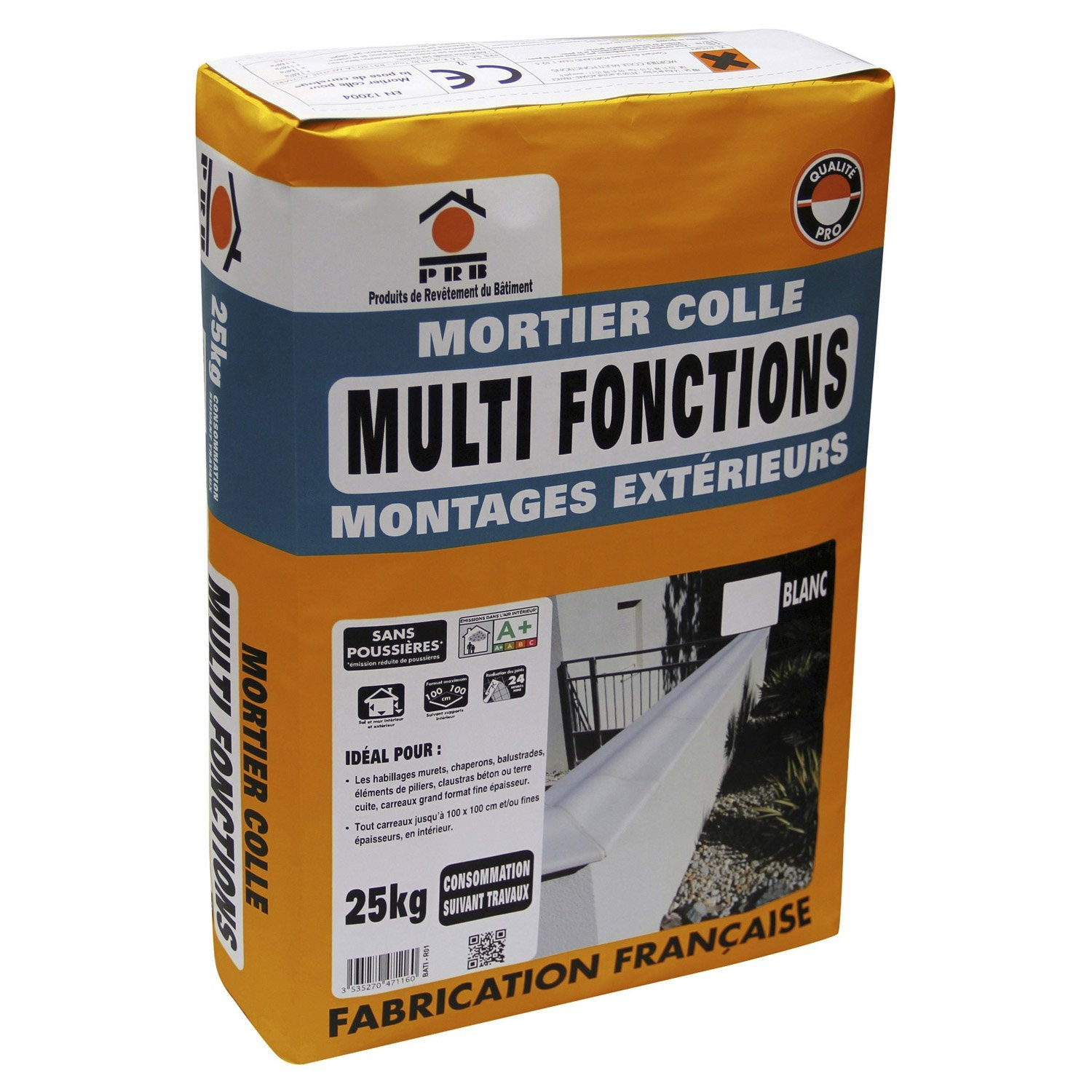 Mortier colle multifonctions sans poussi re blanc prb 25kg leroy merlin - Colle a bois leroy merlin ...