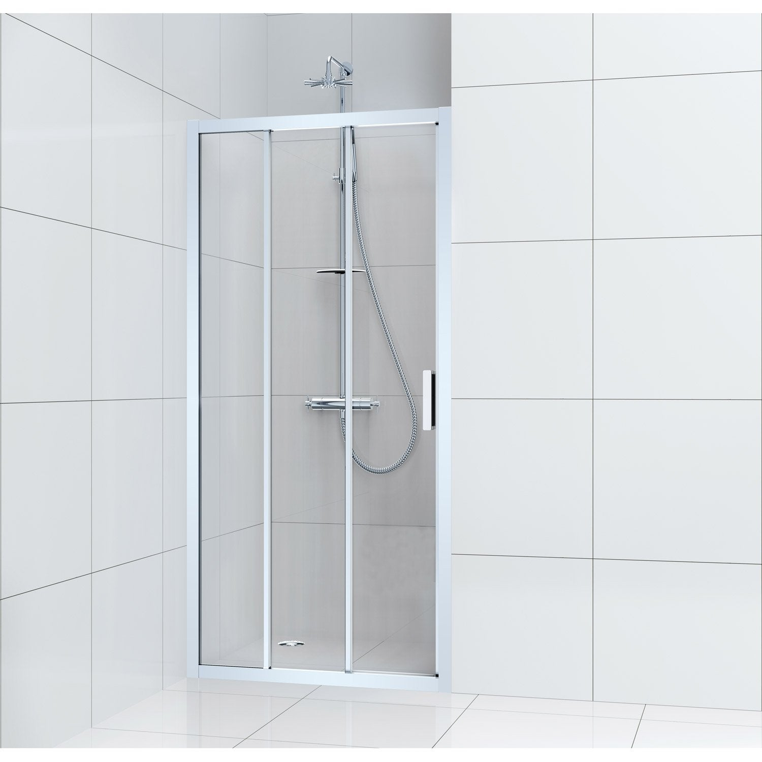 Porte de douche coulissante 100 cm transparent charm for Porte extensible leroy merlin