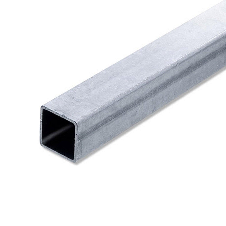 tube carr acier brut l 2 m x l 2 5 cm x h 2 5 cm leroy merlin. Black Bedroom Furniture Sets. Home Design Ideas