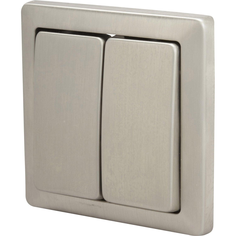 double interrupteur va et vient samba m tal leroy merlin. Black Bedroom Furniture Sets. Home Design Ideas