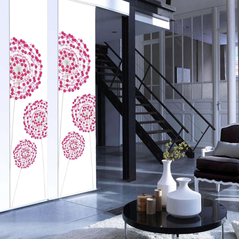 panneau japonais fleurs digitales rose 250 x 50 cm. Black Bedroom Furniture Sets. Home Design Ideas